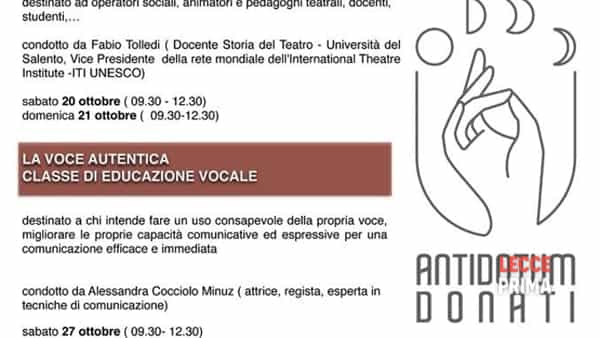 Workshop 'La voce autentica - classe di educazione vocale'