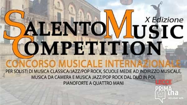 Salento music competition 2020: al via il concorso musicale internazionale
