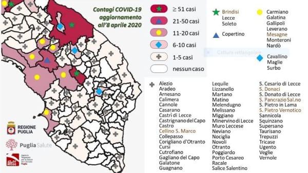 Lecce Puglia Cartina.La Mappa Del Contagio Da Unisalento E Asl La Foto Dei Casi Per Comune